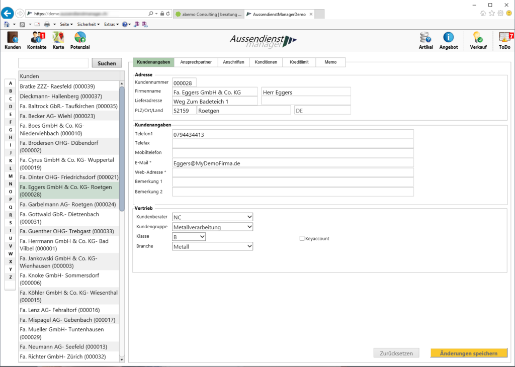 Screenshot Aussendienstmanager